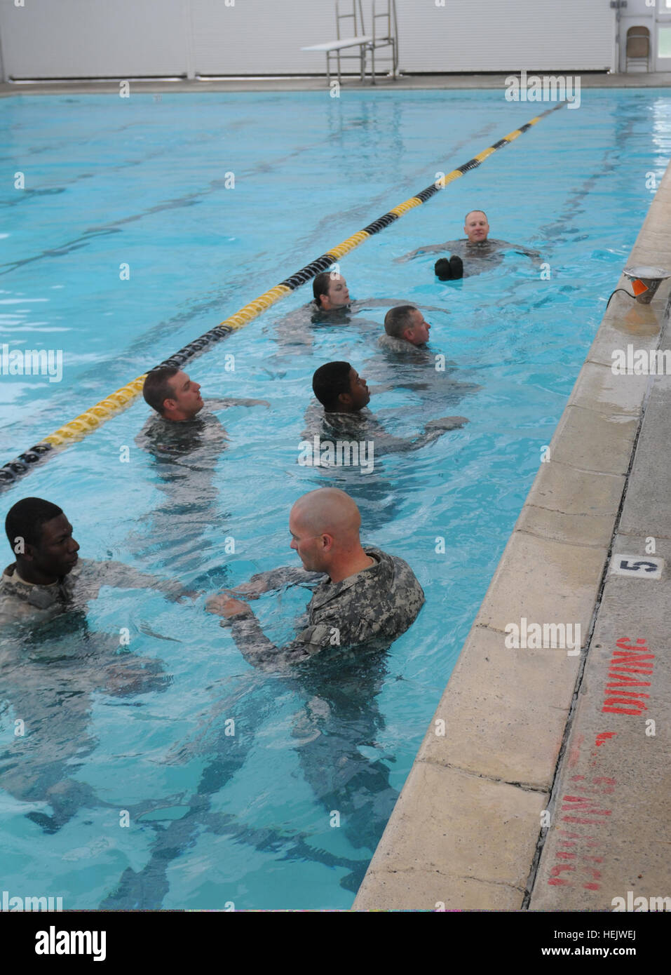 Soldiers with 336th Engineer Company, tread water in the pool as part of their drown-proof training on Fort Hunter - Stock Image