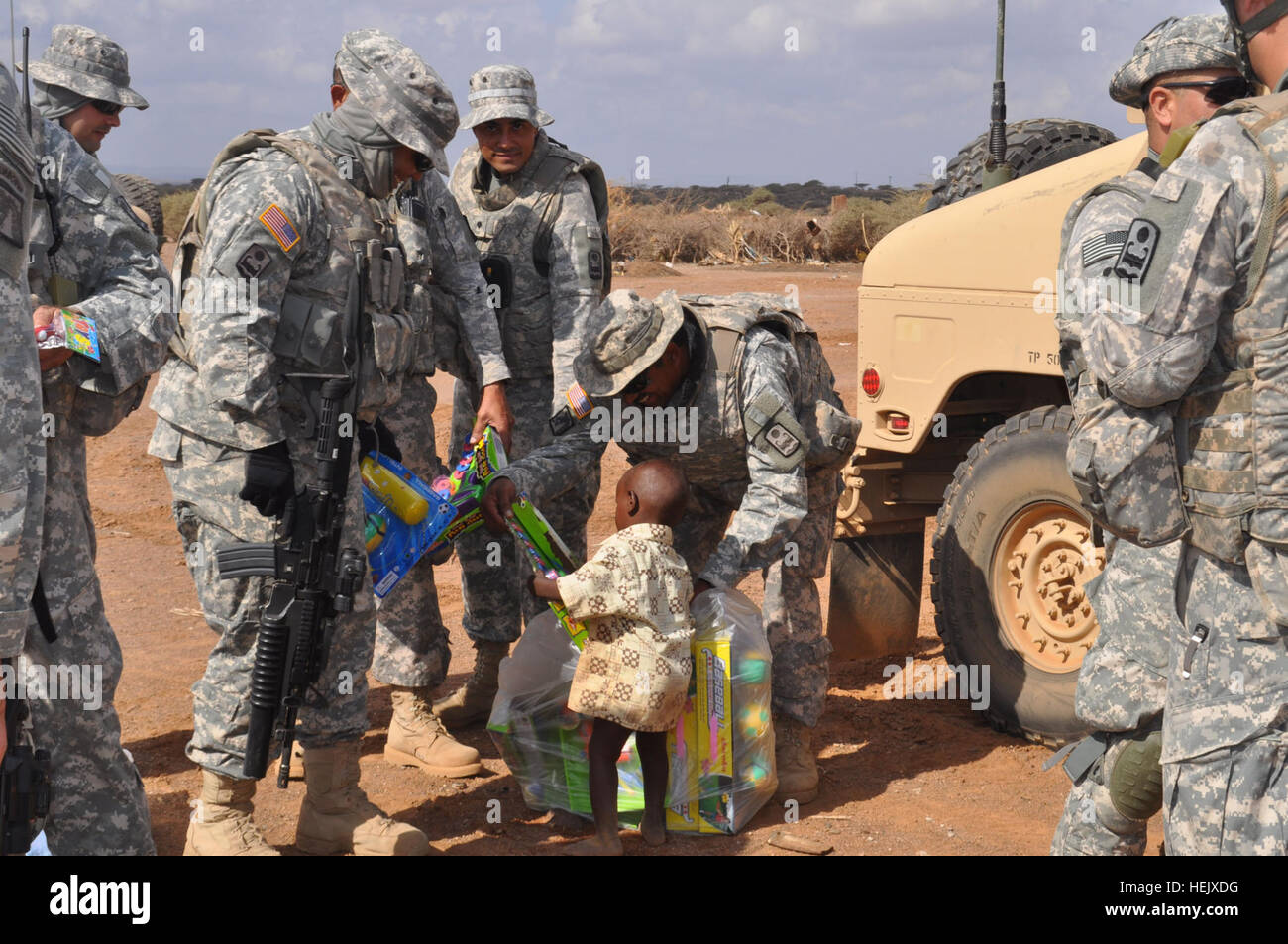 US Army Soldiers Of Charlie Company 1 65th Infantry Battalion Out Coamo Puerto Rico Visit The Village Yasabeh Djibouti Africa On Jan