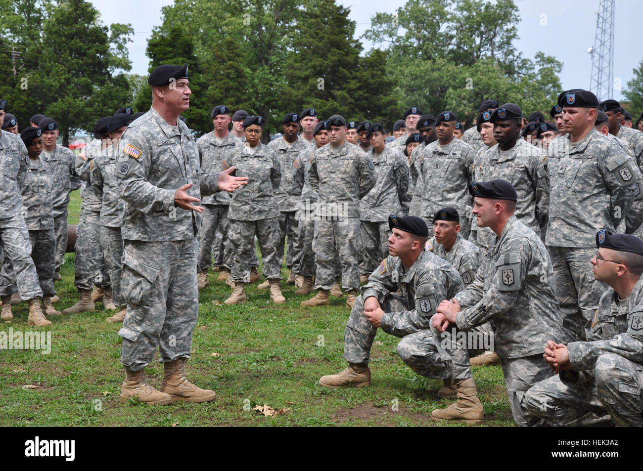 Dennis Carey, who serves as the senior enlisted leader of U.S. Forces  Command, speaks with 193rd Brigade Support Battalion Soldiers, 4th Maneuver  ...