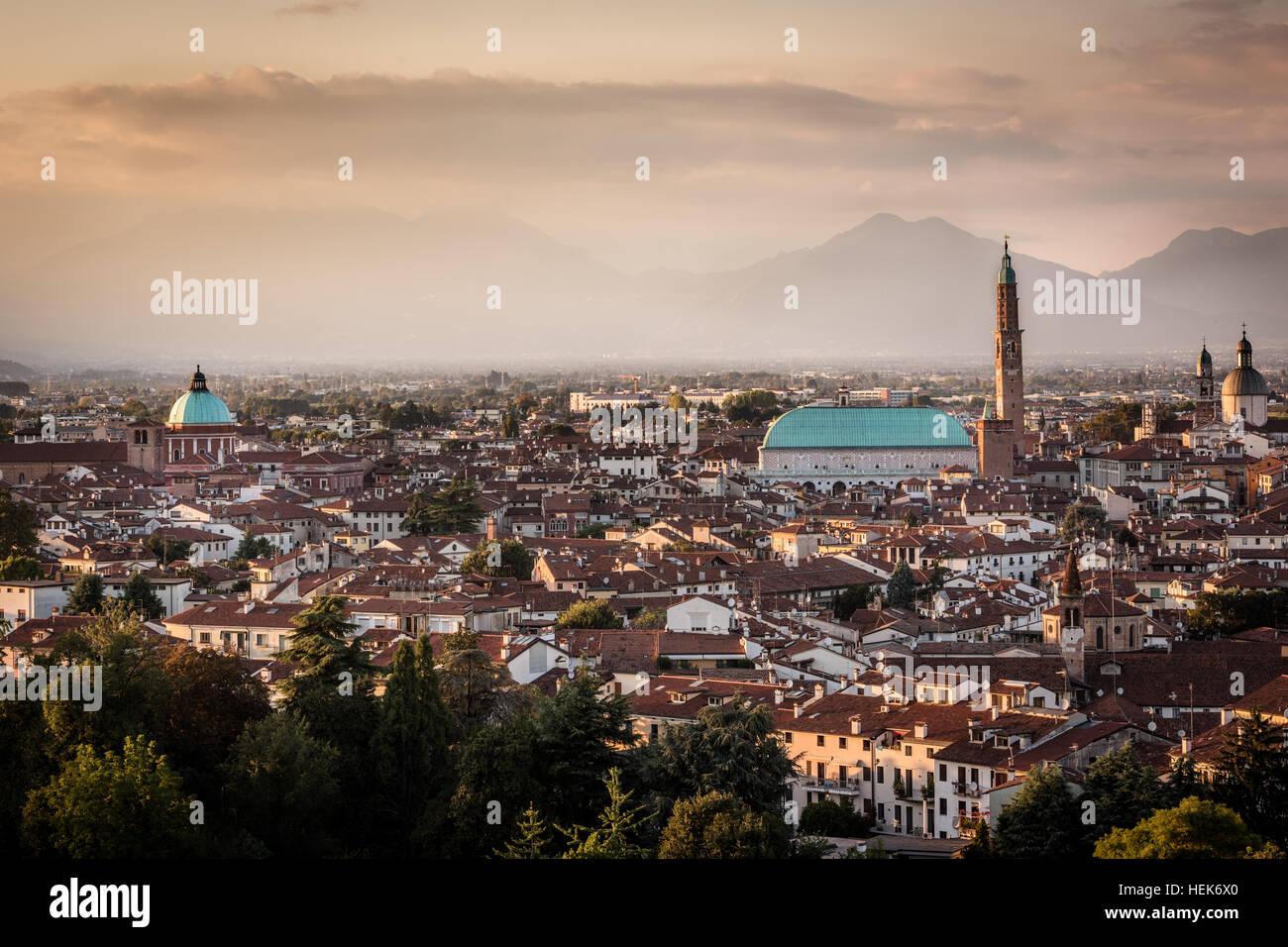 Vicenza at dusk - Stock Image