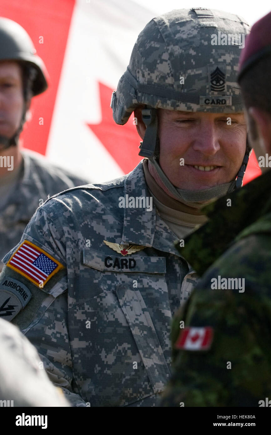 U.S. Army Sgt. Maj. Brian Card receives Canadian jump wings during the 12th annual Randy Oler memorial operation - Stock Image