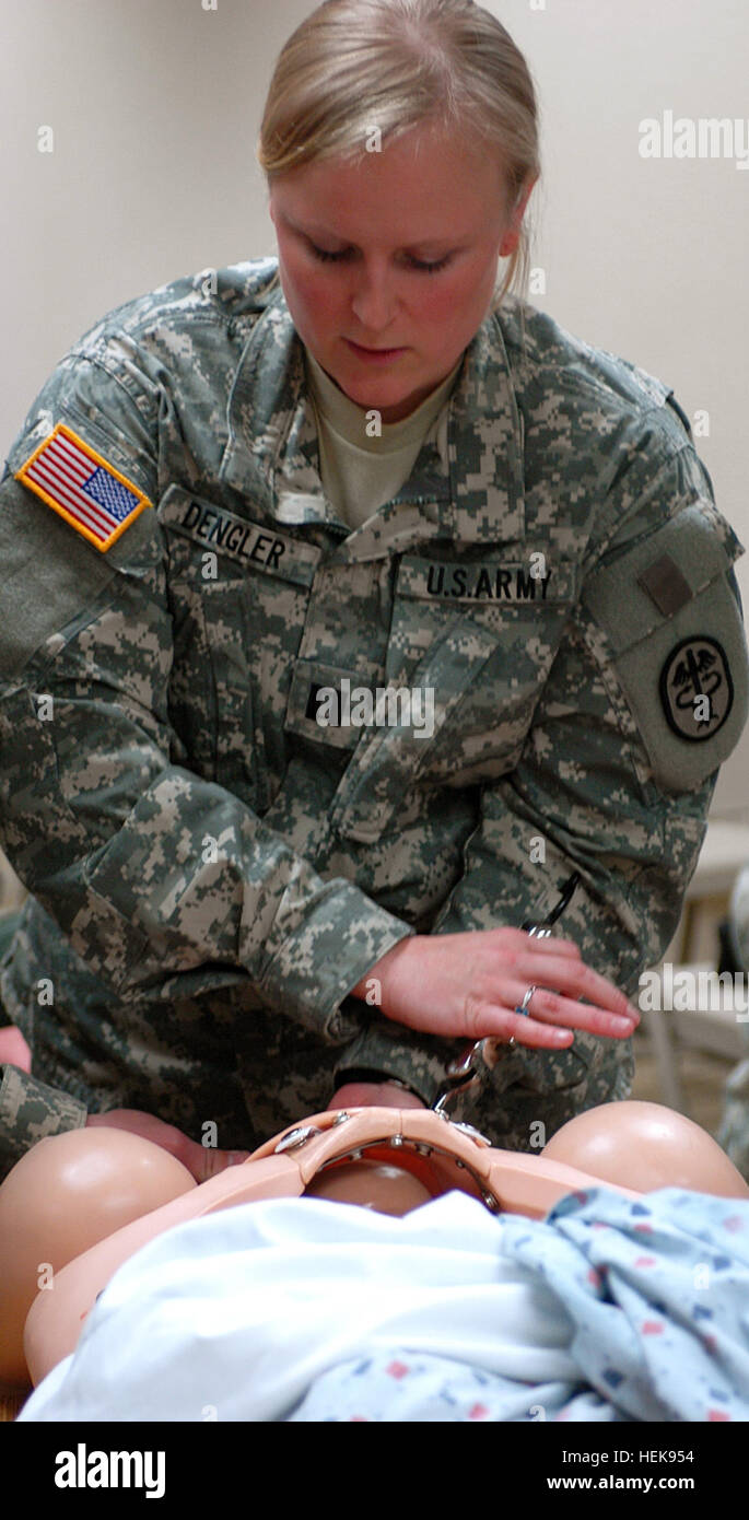 Capt. Katherine Dengler, a resident in the OB/GYN department at the Brooke Army Medical Center in San Antonio, traveled - Stock Image