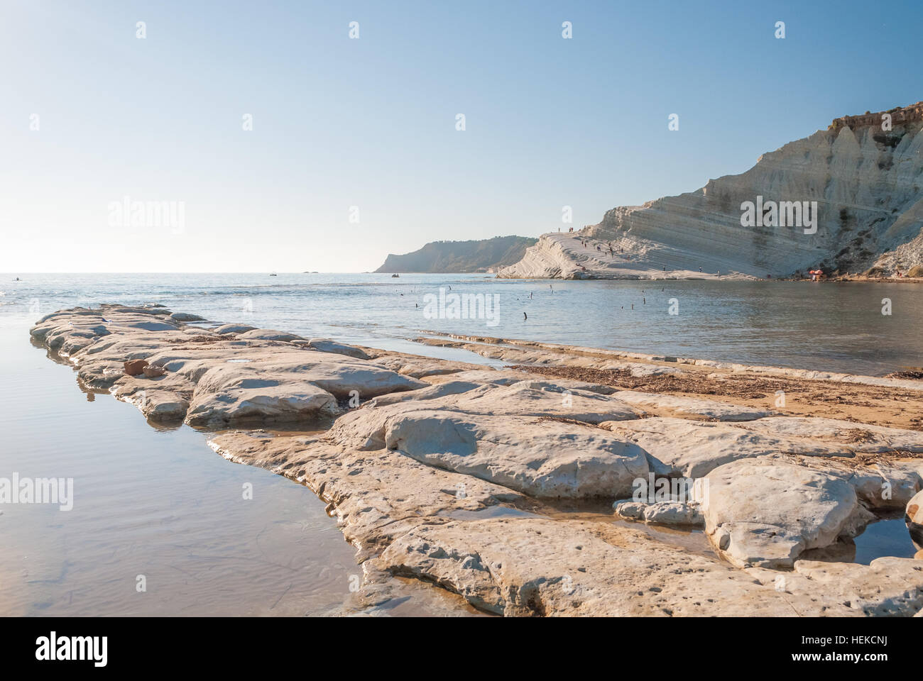 The rocky beach near the 'Scala dei Turchi' in Sicily - Stock Image