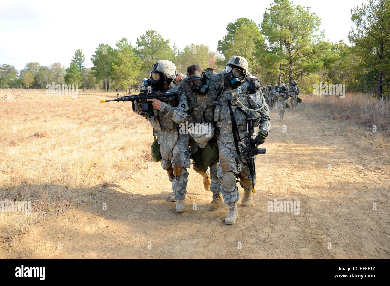 Texas National Guardsmen From Alpha Troop Task Force Raptor 3 124 Carry An Injured Soldier During Dismounted Drills The Soldiers Have Been Brushing Up