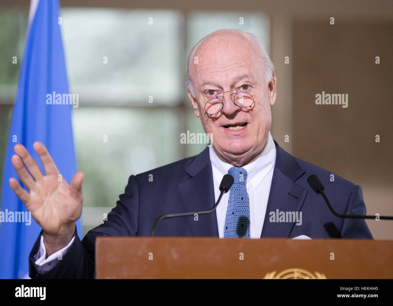 Geneva, Switzerland. 22nd Dec, 2016.  The UN special envoy for Syria Staffan de Mistura holds a press conference - Stock Image