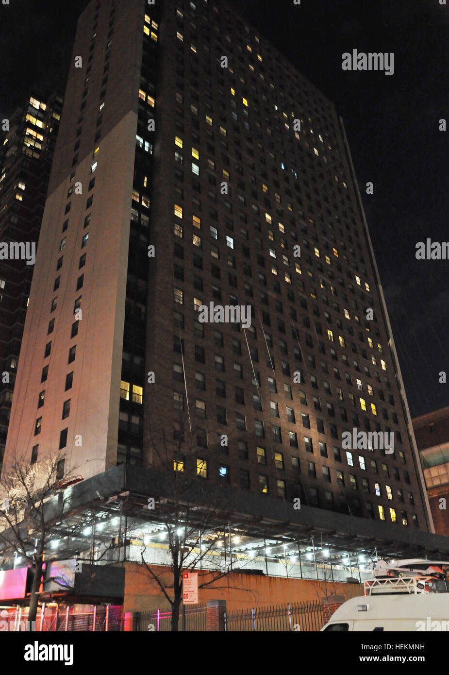 NY, NY. December 22, 2016. The fire occurred on the 3rd floor of the high rise at 59th & 10th Ave. © Veronica - Stock Image