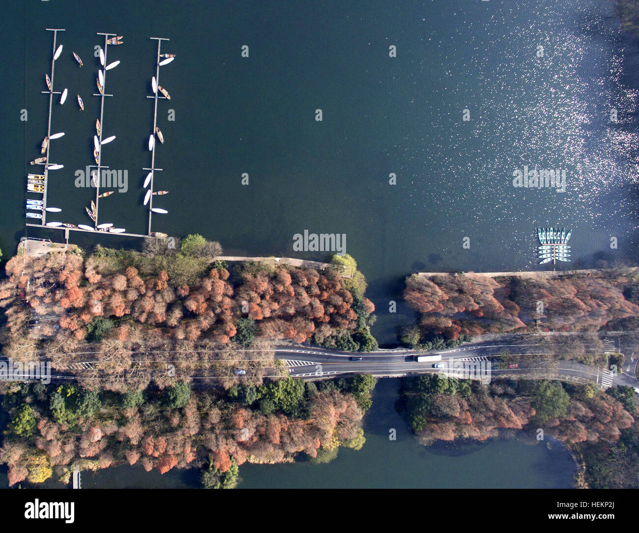 Hangzhou. 23rd Dec, 2016. Aerial photo taken on Dec. 23, 2016 shows the Yanggongdi scenic spot of the West Lake - Stock Image
