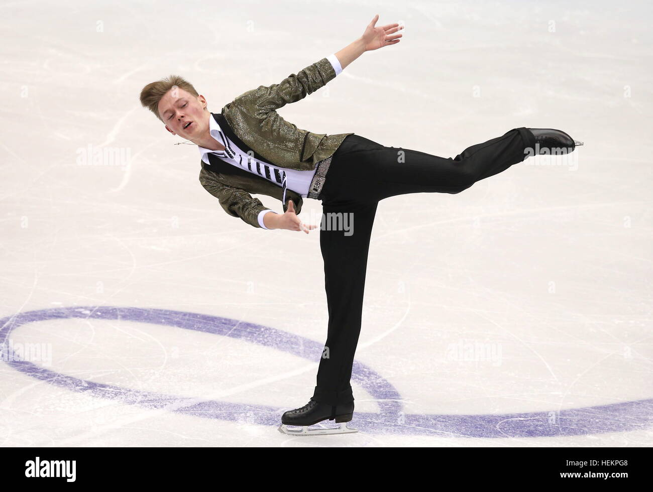 Chelyabinsk, Russia. 23rd Dec, 2016. Figure skater Alexander Petrov performs his men's free skating program - Stock Image