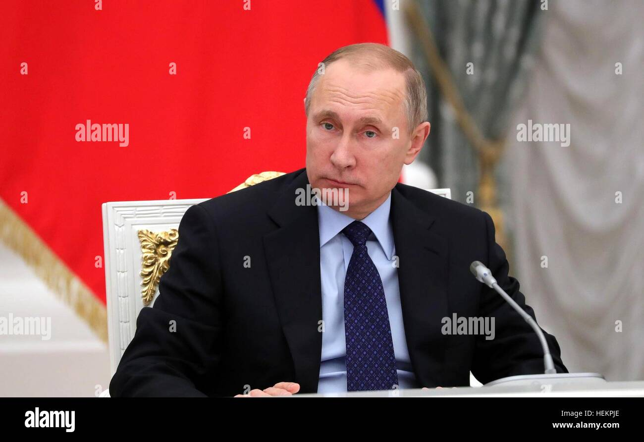 Russian President Vladimir Putin during his meeting with members of the Russian Federation Council and State Duma - Stock Image