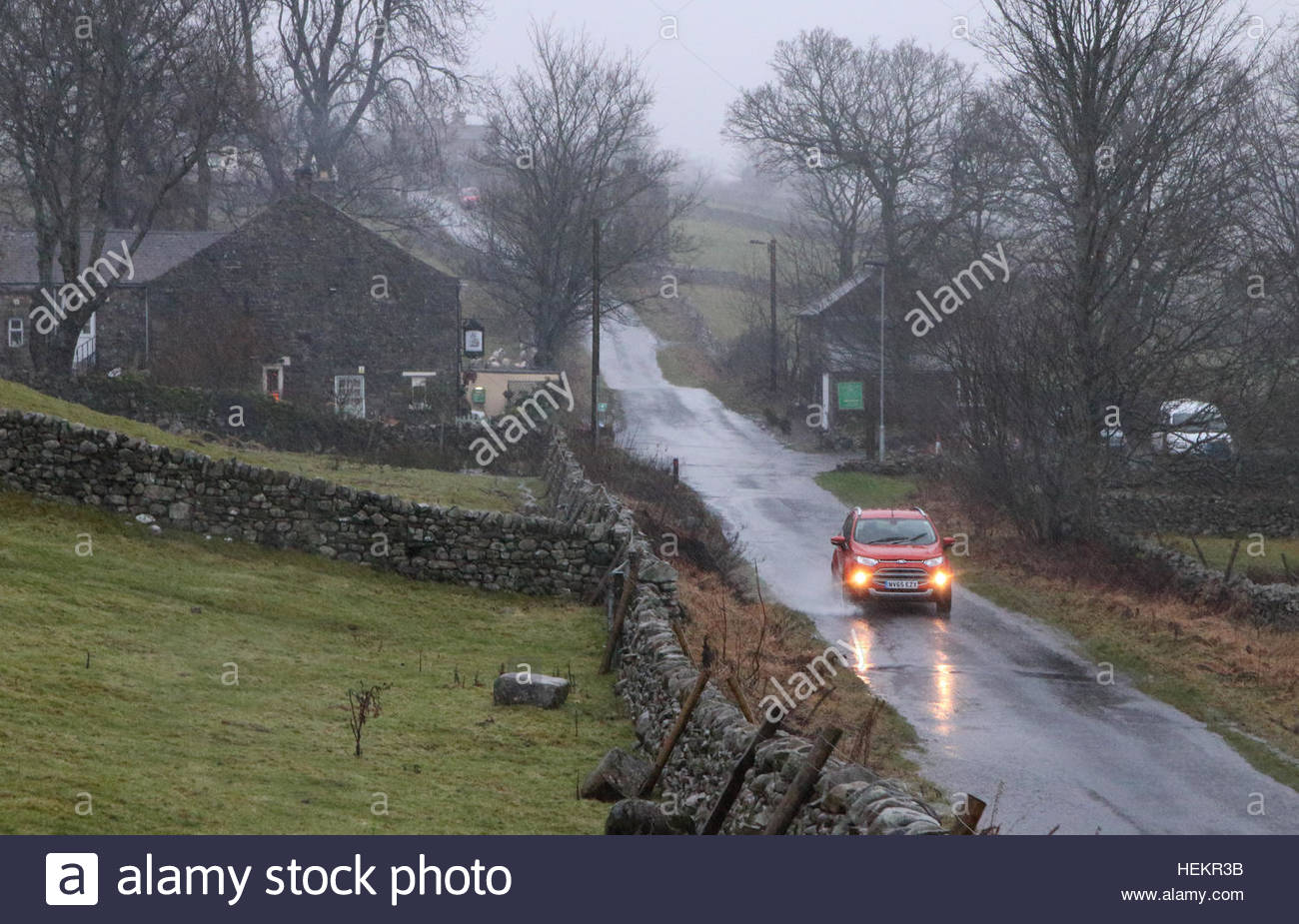 Holwick, Middleton-in-Teesdale, Co Durham, UK. 23rd Dec, 2016. As the second named storm of the season, Storm Barbara - Stock Image