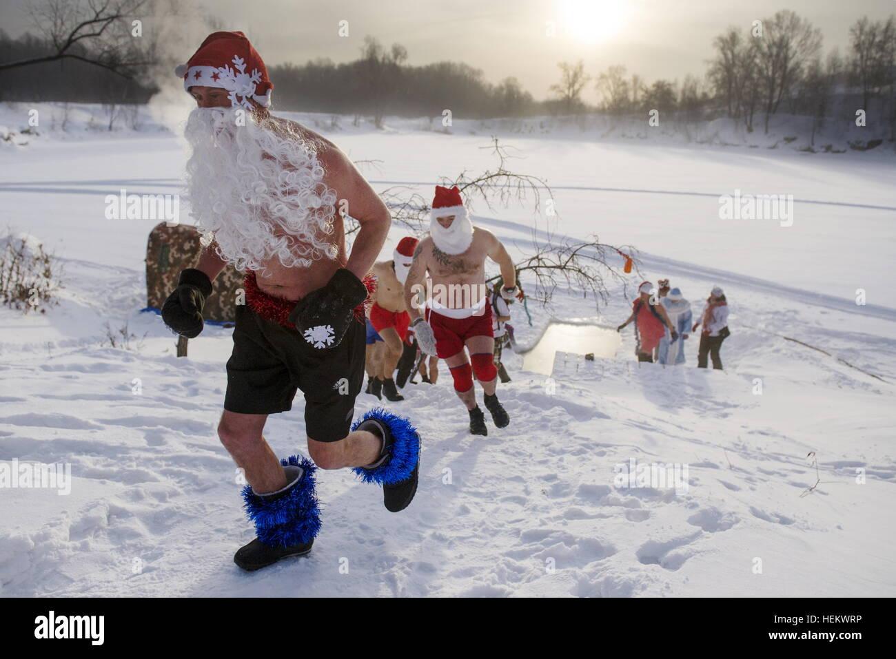 Novosibirsk, Russia  24th Dec, 2016  Members of a winter swimming