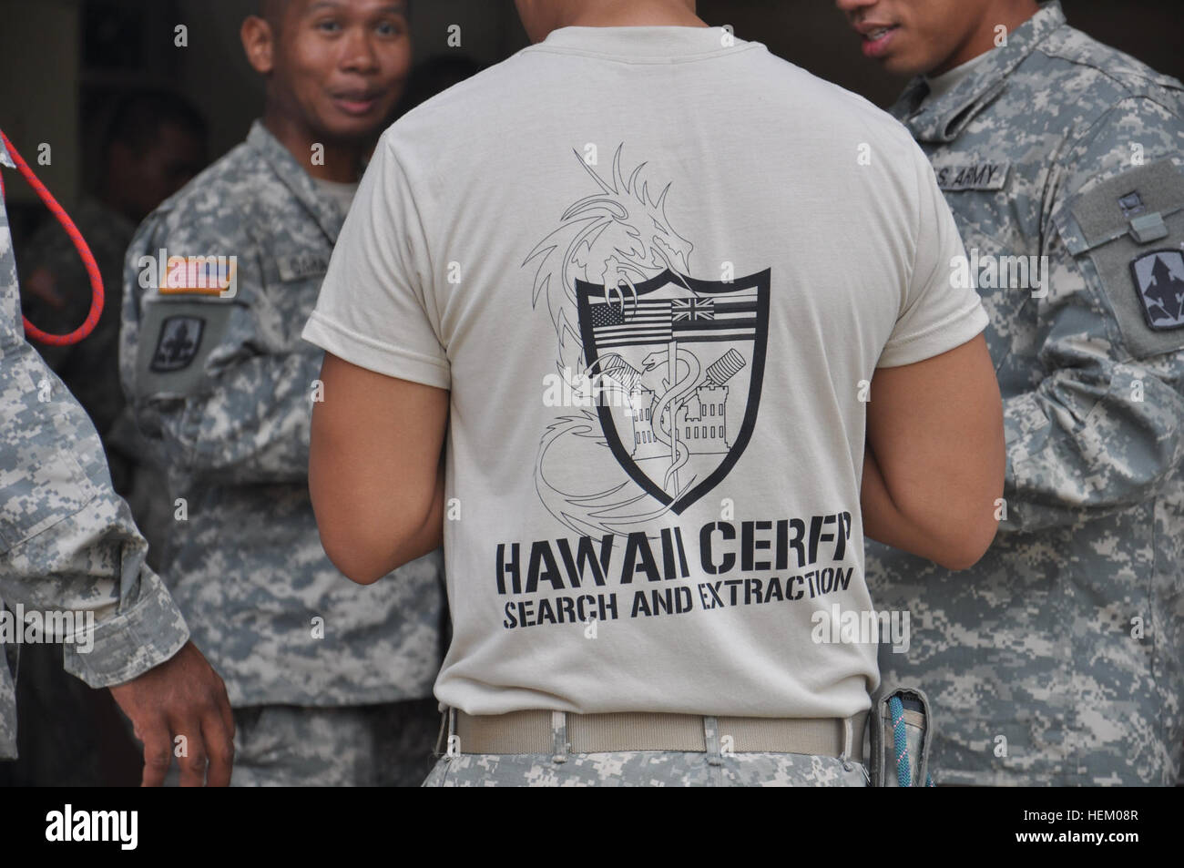 Hawaii's CERFP team practices search and rescue operations in preparation for Asia-Pacific Economic Cooperation. - Stock Image