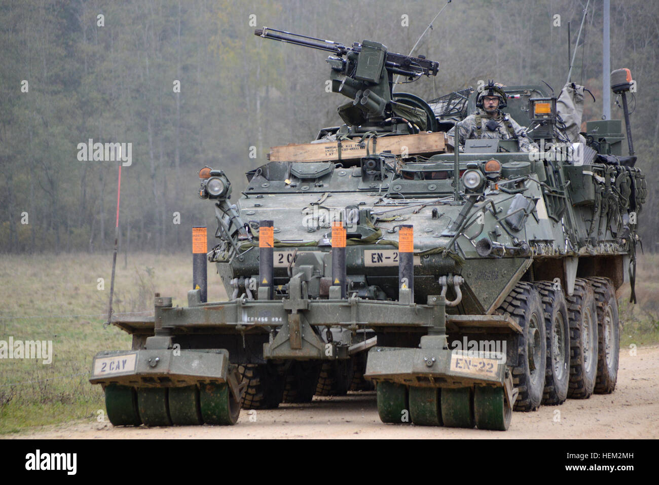 A 2nd Cavalry Regiment Stryker Engineer Support Vehicle rolls on a range road during Saber Junction 2012 at the - Stock Image