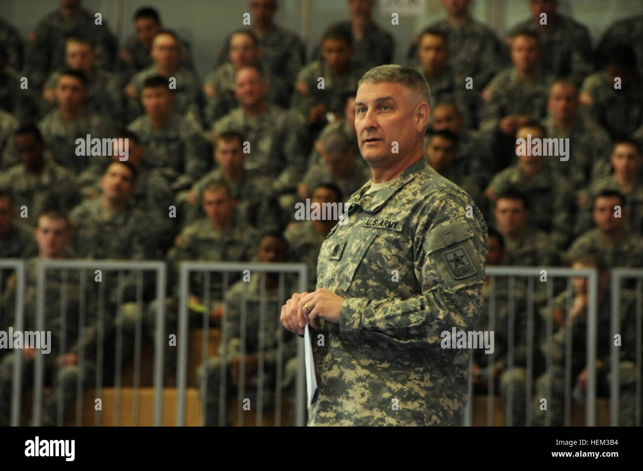 Sgt. Maj. of the Army Raymond F. Chandler III tells Soldiers to always be a professional, and says a Soldier should Stock Photo