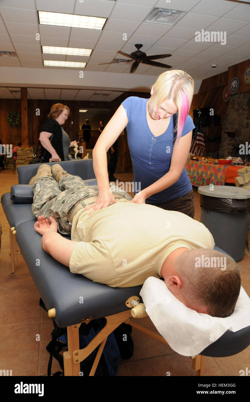 Michelle Adams, Of Indianapolis Gives A Free Massage To Sgt. Russell  Donivan, Hagerstown, Md., Native And Medic With 1st Battalion, 175th  Infantry, ...