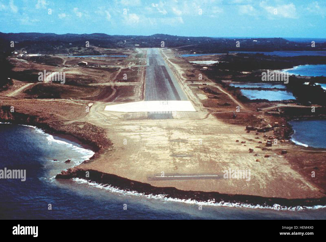 An aerial view of the approach to Point Salines Airport, taken during Operation URGENT FURY. Point Salinas International - Stock Image