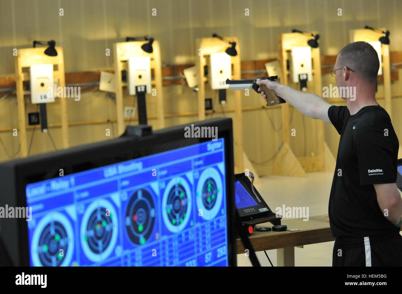 Veteran Justin Miller takes aim during the 2012 Warrior Games during the Air Pistol Competition at the Olympic Training - Stock Image