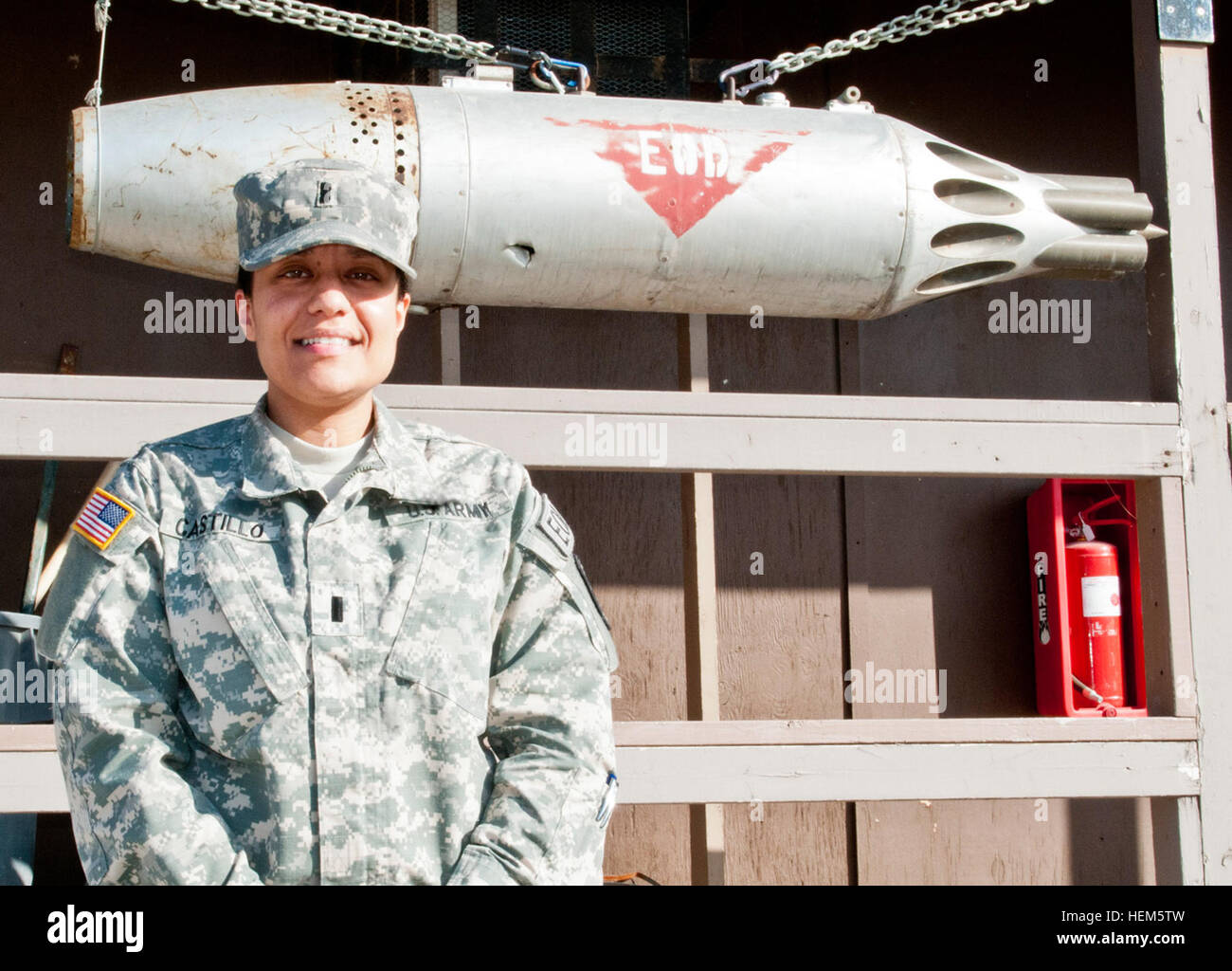 First Lt. Janill Castillo, a native of Bronx, N.Y., serves as the commander for Multinational Battle Group - East Stock Photo
