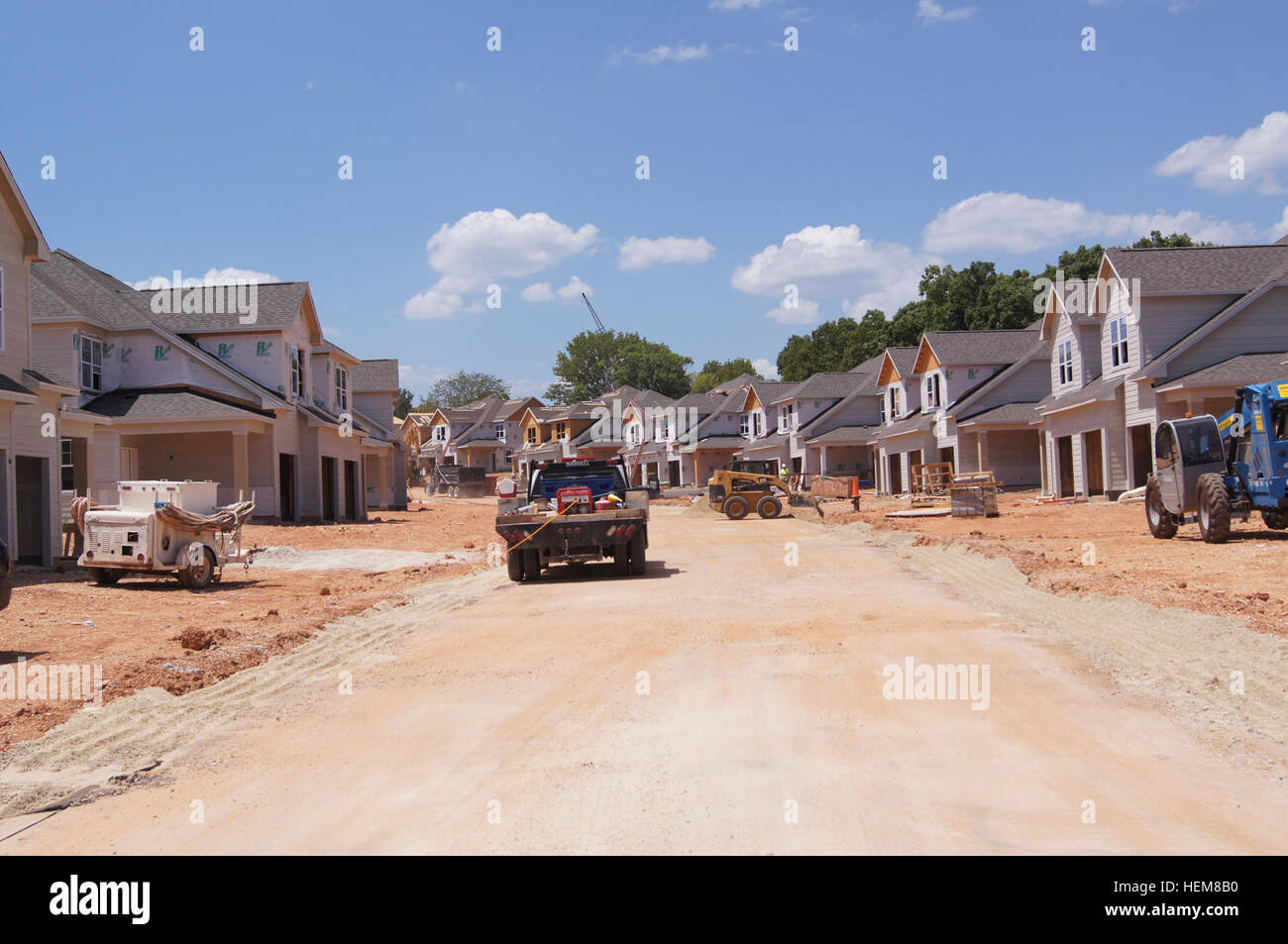 The new privatized housing unit under construction in the Woodlands neighborhood will average about 1,840 square - Stock Image