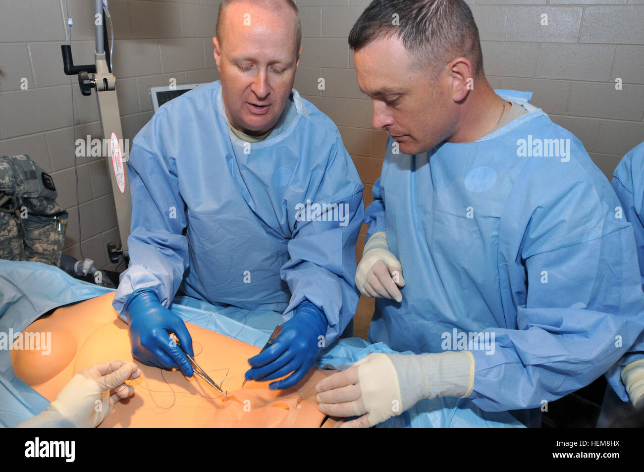 U.S. Army Maj. Kelly Blair (left), commander of the 250th Forward Surgical Team (FST), 62nd Medical Brigade, and - Stock Image