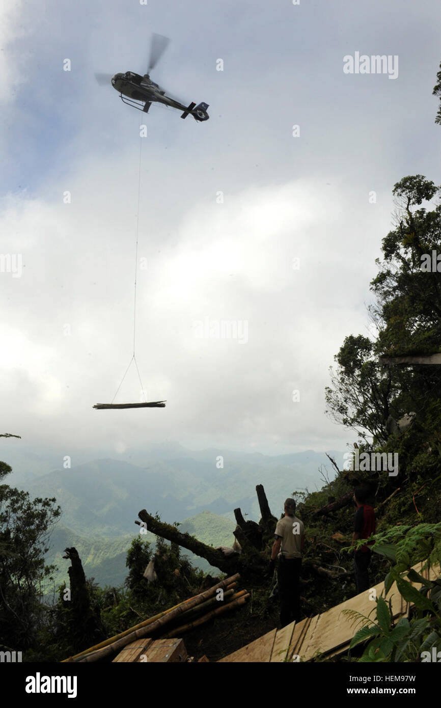 LUGANVILLE, VANUATU --  Service members assigned to the Joint POW/MIA Accounting Command sling load lumber and bamboo - Stock Image