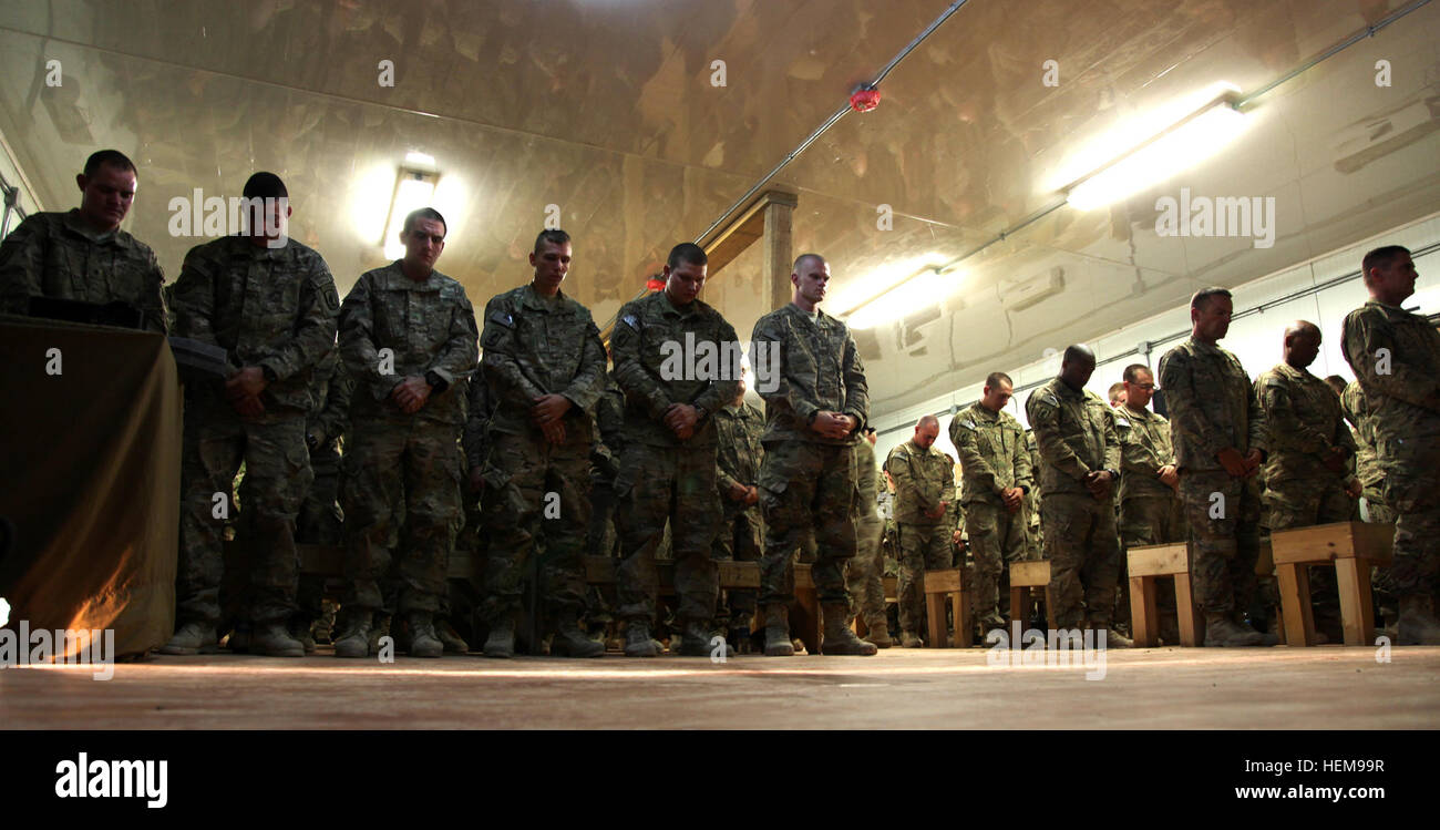 LOGAR PROVINCE Afghanistan Soldiers From B Company 1st Battalion 503rd Infantry Regiment Task Force 173rd Airborne Brigade Combat Team Bow Their