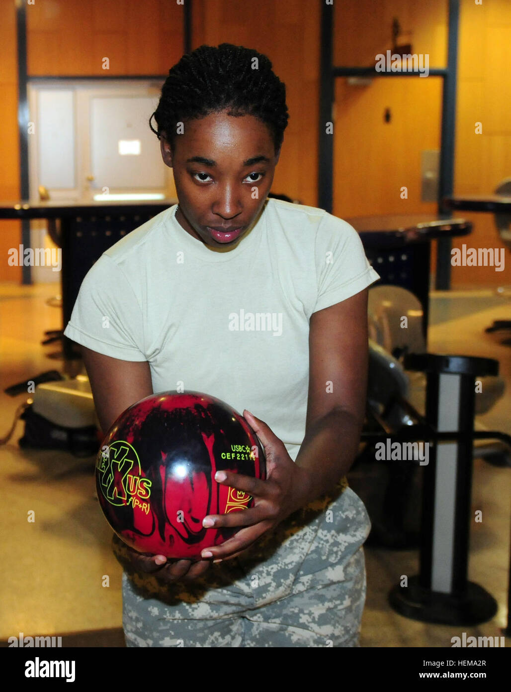 Staff Sgt. Tiara Jenkins, a certified occupational therapy assistant with the 254th Medical Detachment, Combat Operational - Stock Image