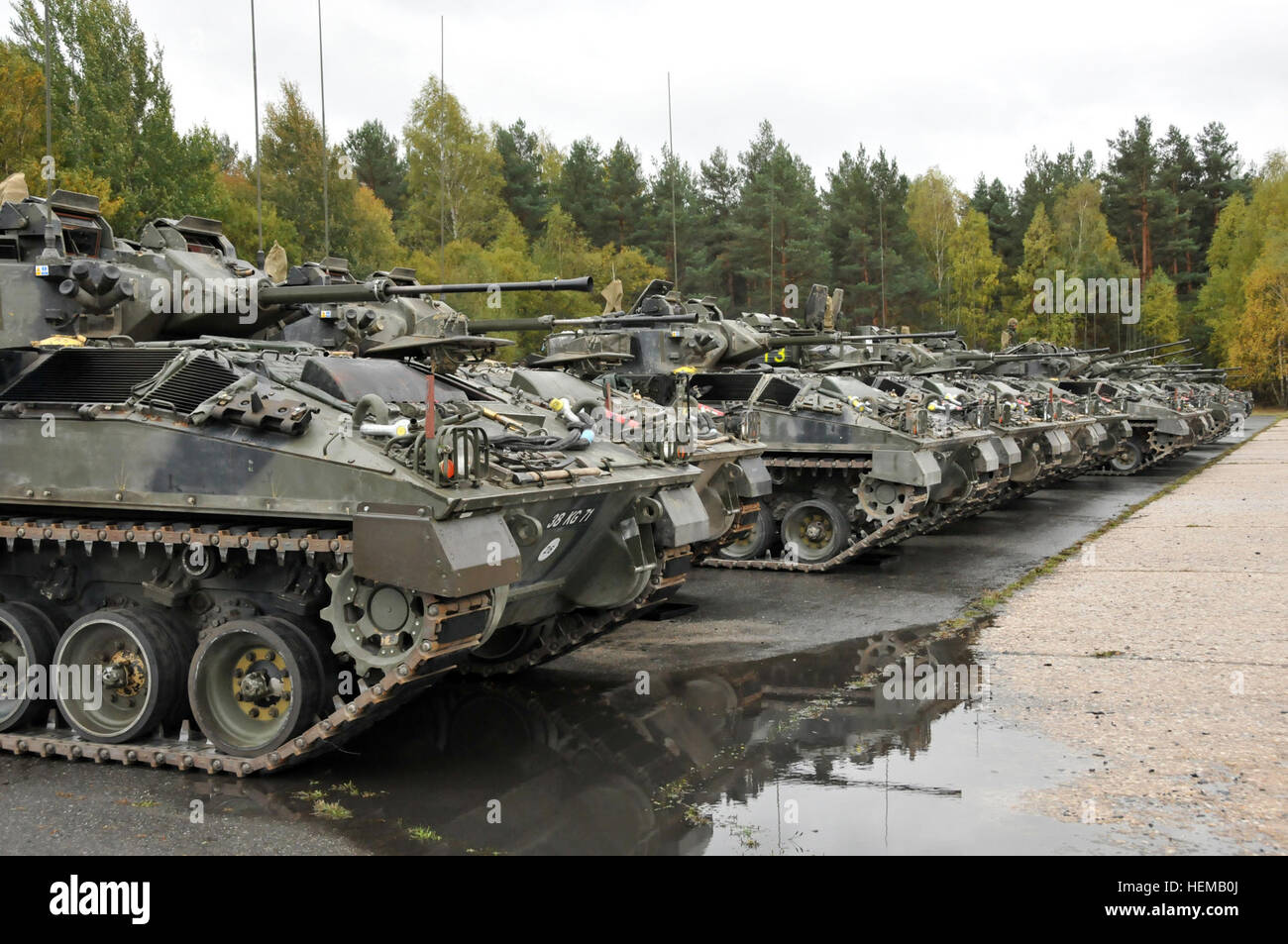The United Kingdom's Bravo Company of the 3rd Mercian line-up Warrior Infantry Fighting Vehicle's at Grafenwoehr - Stock Image