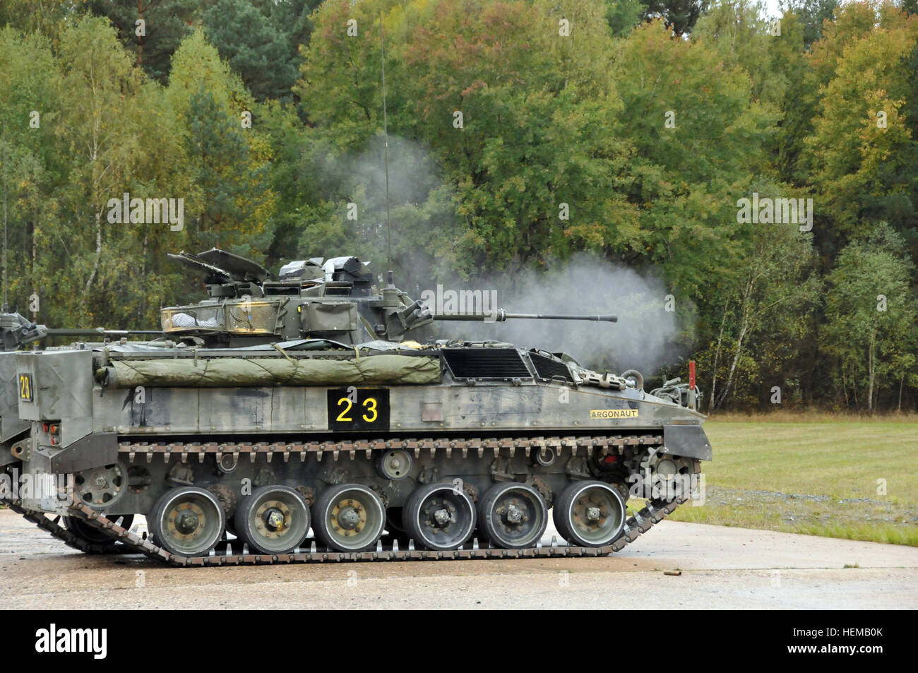The United Kingdom's Bravo Company of the 3rd Mercian fires a 5-11 Warrior Infantry Fighting Vehicle round at Grafenwoehr - Stock Image