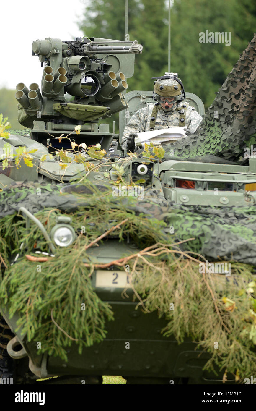 U.S. Army Europe's Capt. Mark Crimaldi, Commander of Engineer Troop, 4th Squadron, of the 2nd Cavalry Regiment, - Stock Image