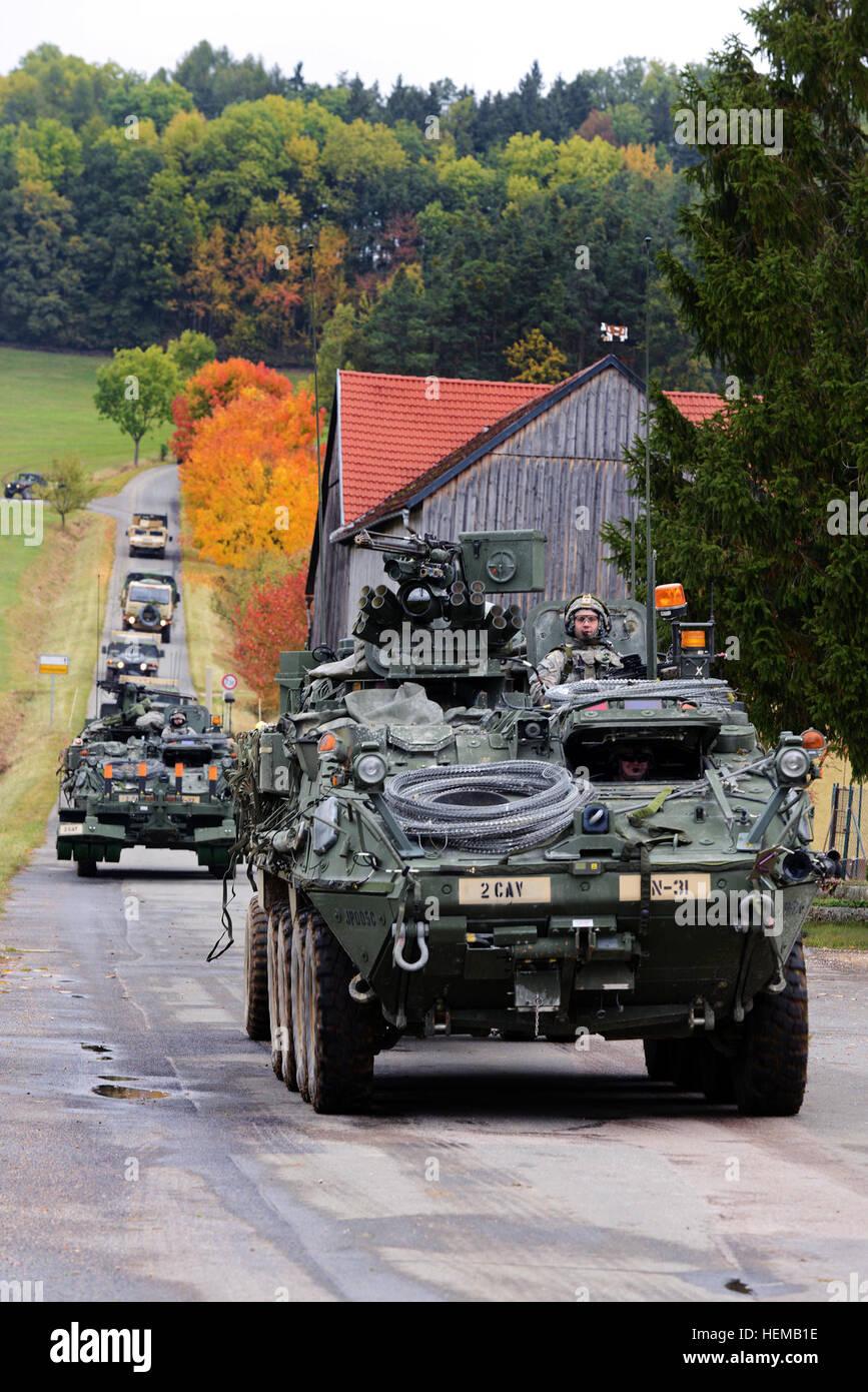 Elements of U.S. Army Europe's 2nd Cavalry Regiment enter the village Schalkenthan, near Grafenwoehr, during - Stock Image