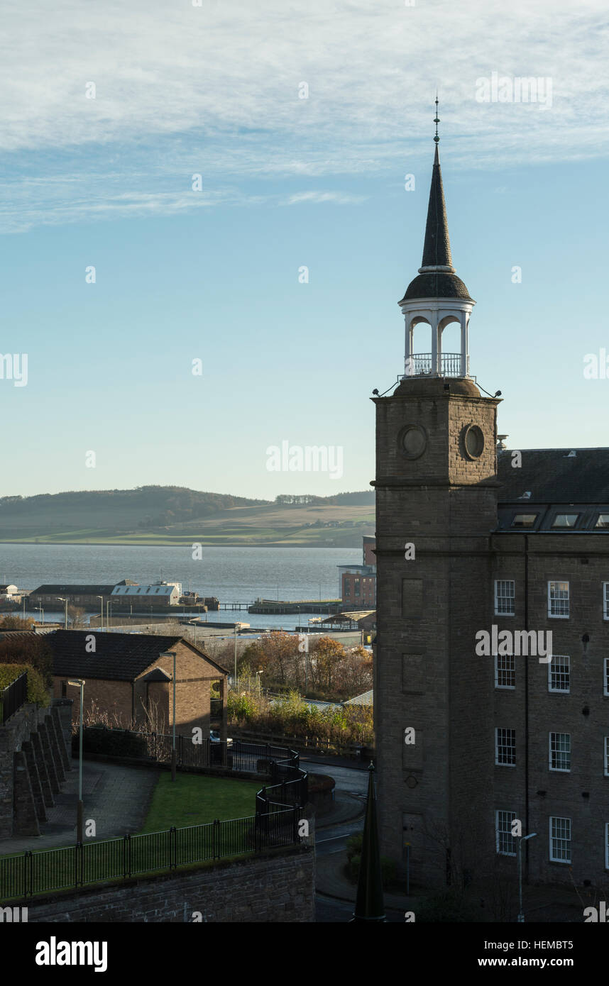 Stair Tower of Upper Dens Mill, now residential housing, Dundee, Scotland,UK, - Stock Image