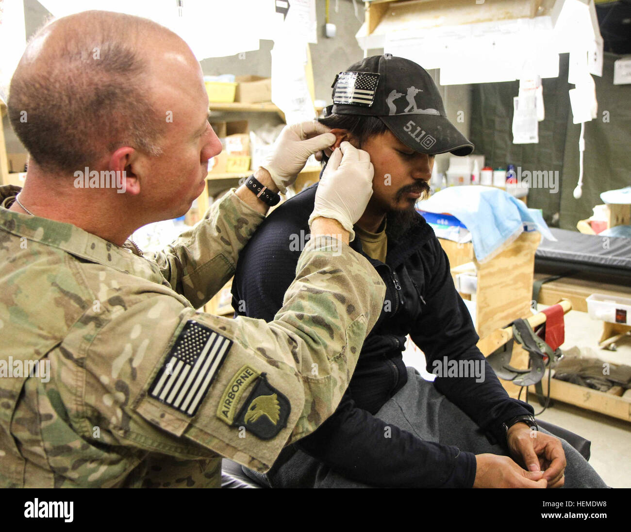 First Lt. Robert Blume, the physician assistant for 1st Battalion, 187th Infantry Regiment, 3rd Brigade Combat Team - Stock Image