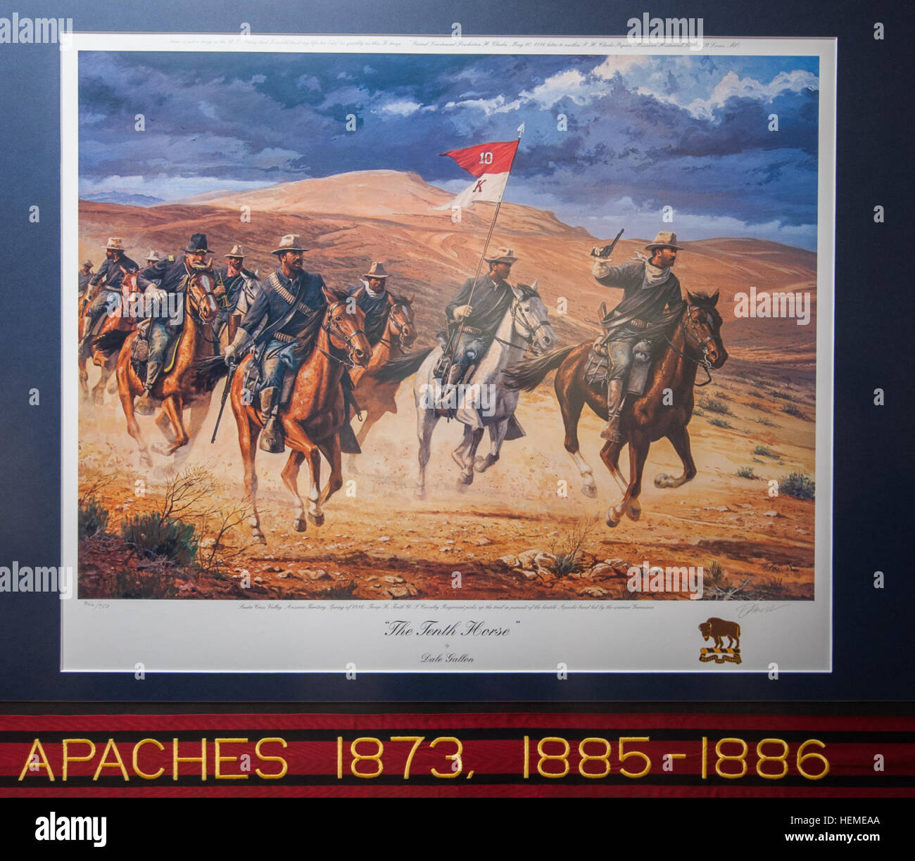 Buffalo Soldier prints, by famed historical artist Dale Gallon, hang in the U.S. Army Reserve Command Headquarters Stock Photo