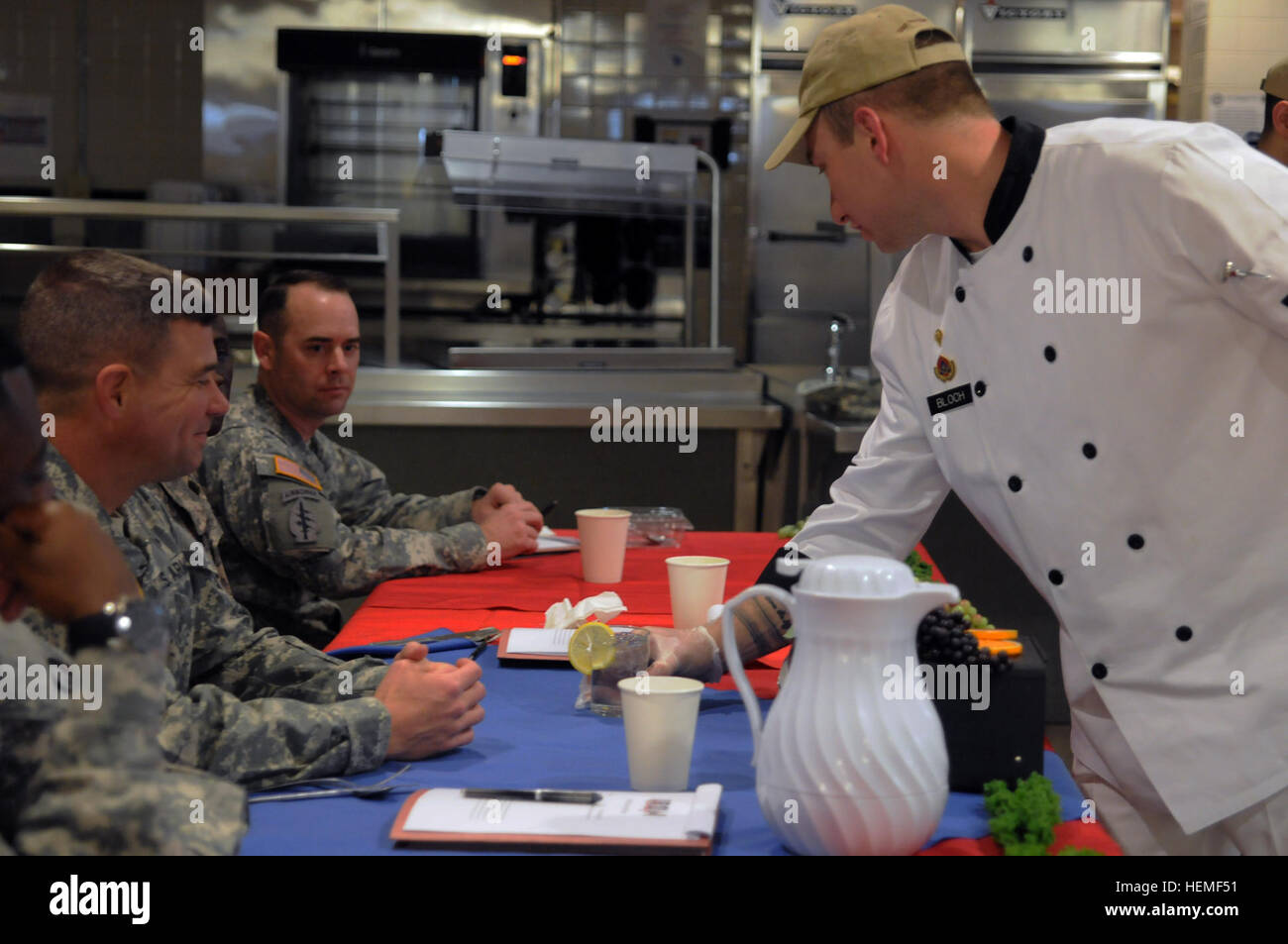 Spc. David Bloch, an Iron Chef competitor with 126th Transportation Company, 189th Combat Sustainment Support Battalion, - Stock Image