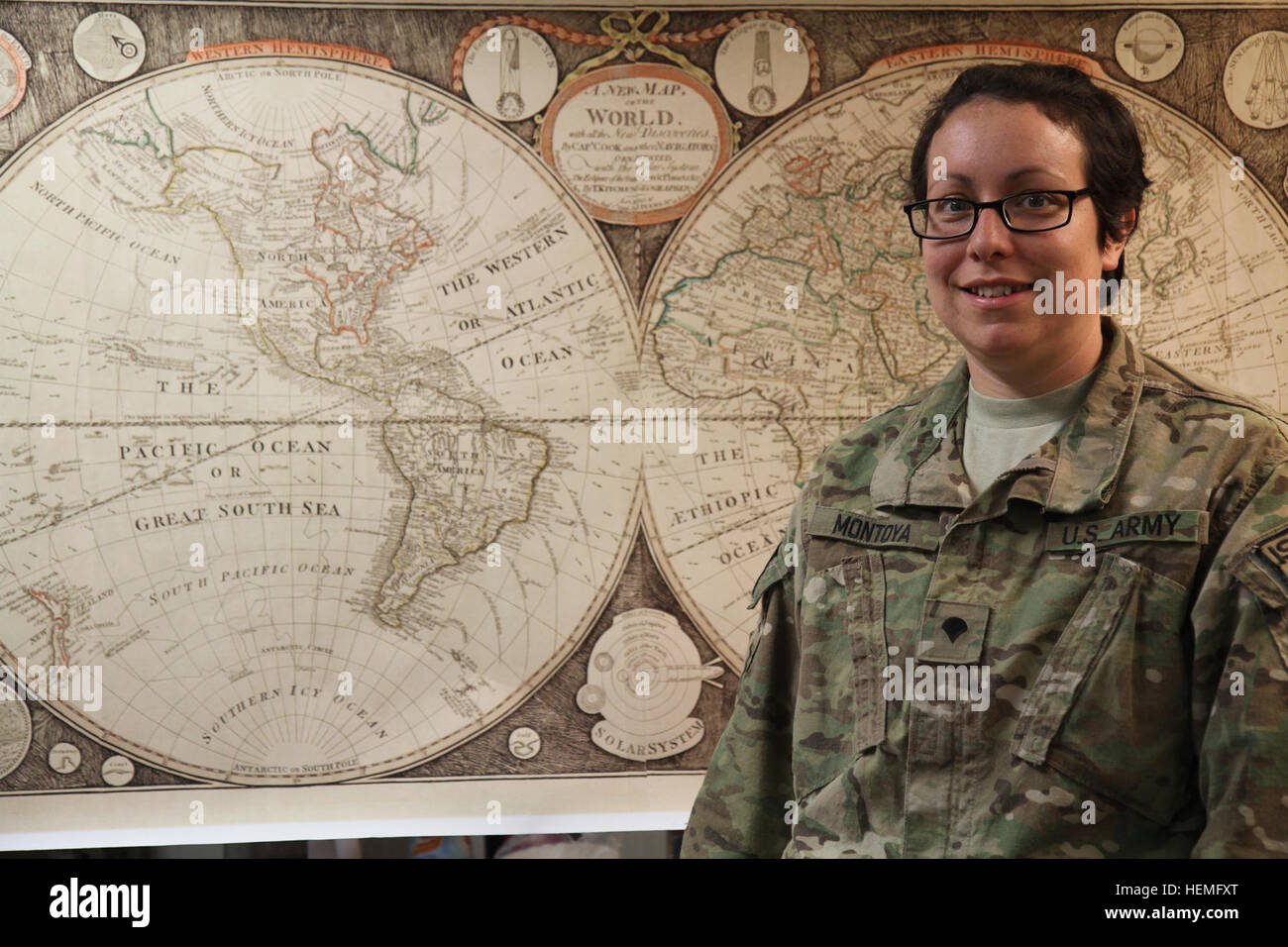 U.S. Army Spc. Carmella D. Montoya, a geospatial engineer assigned to Headquarters and Headquarters Company, 4th - Stock Image