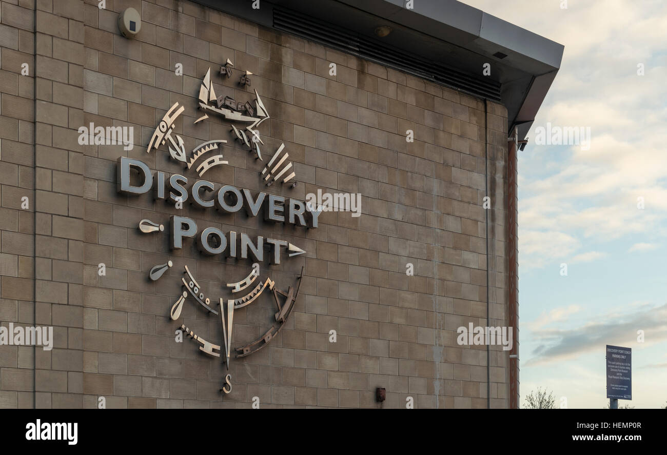 Signage detail of Discovery Point visitor attraction, Craig Pier,Dundee,Scotland,UK, - Stock Image