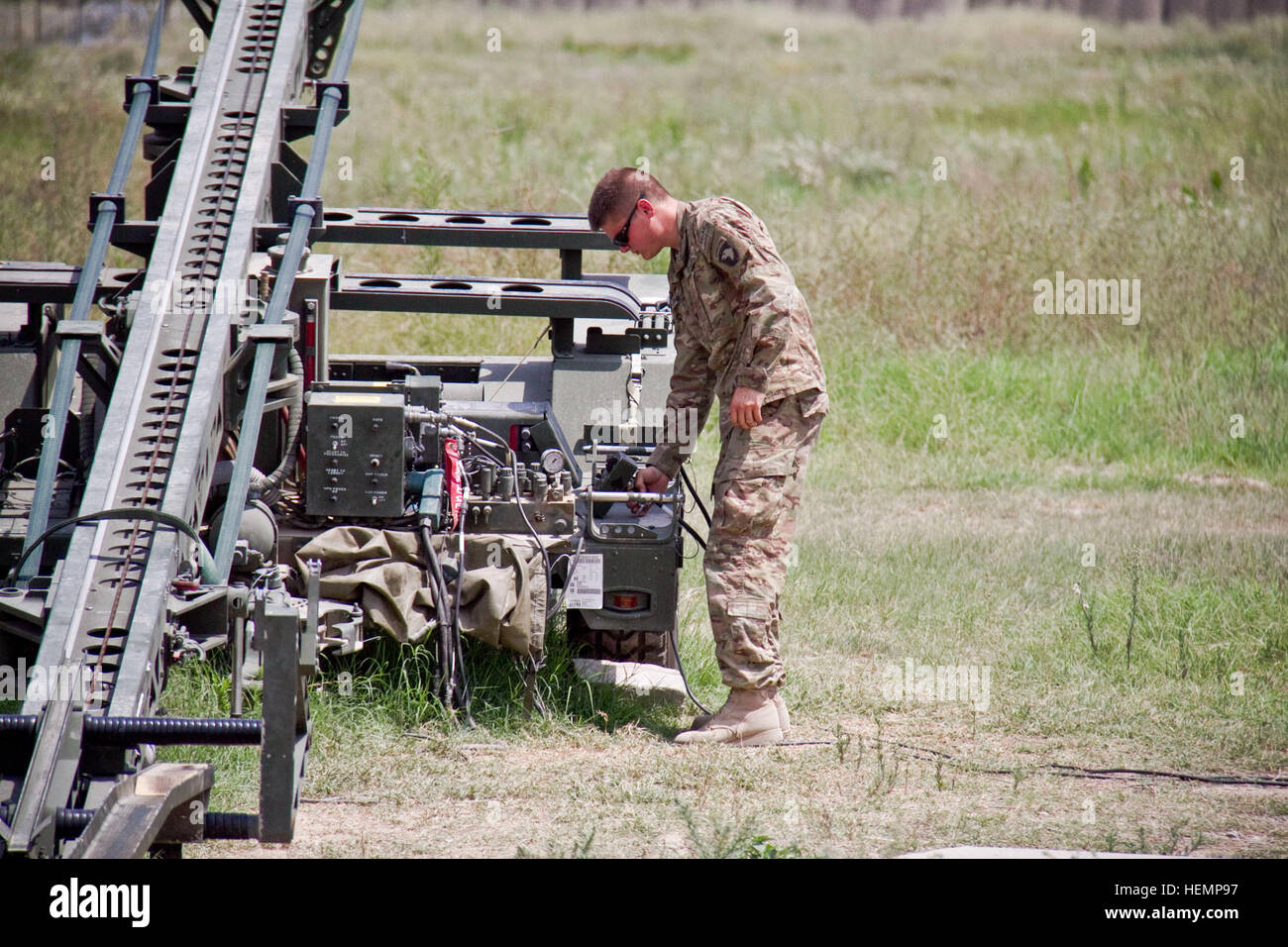 U.S. Army Spc. Nathan C. Phillips, an unmanned aircraft system repairer with the 4th Brigade Special Troops Battalion, - Stock Image