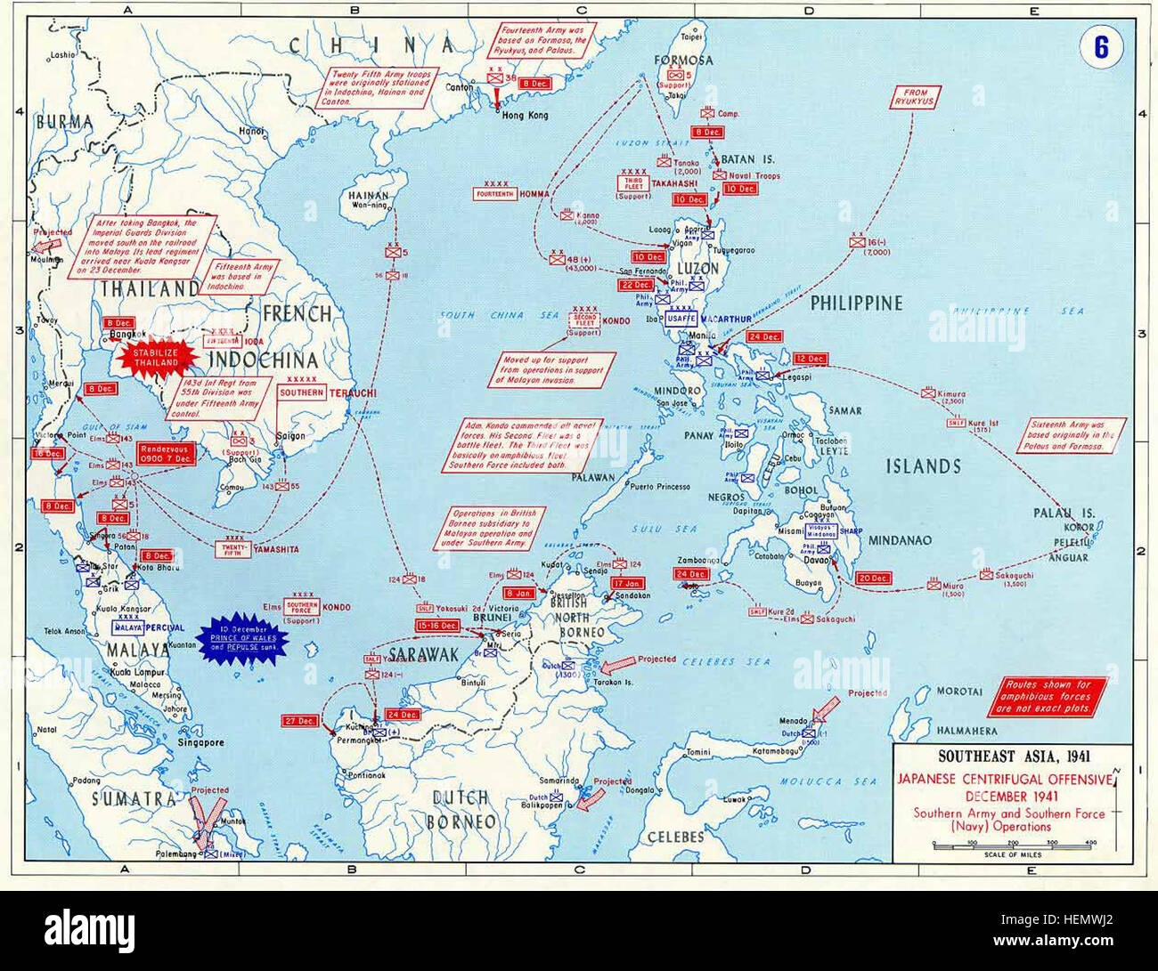 Pacific War - Southeast Asia 1941 - Map Stock Photo: 129536906 - Alamy