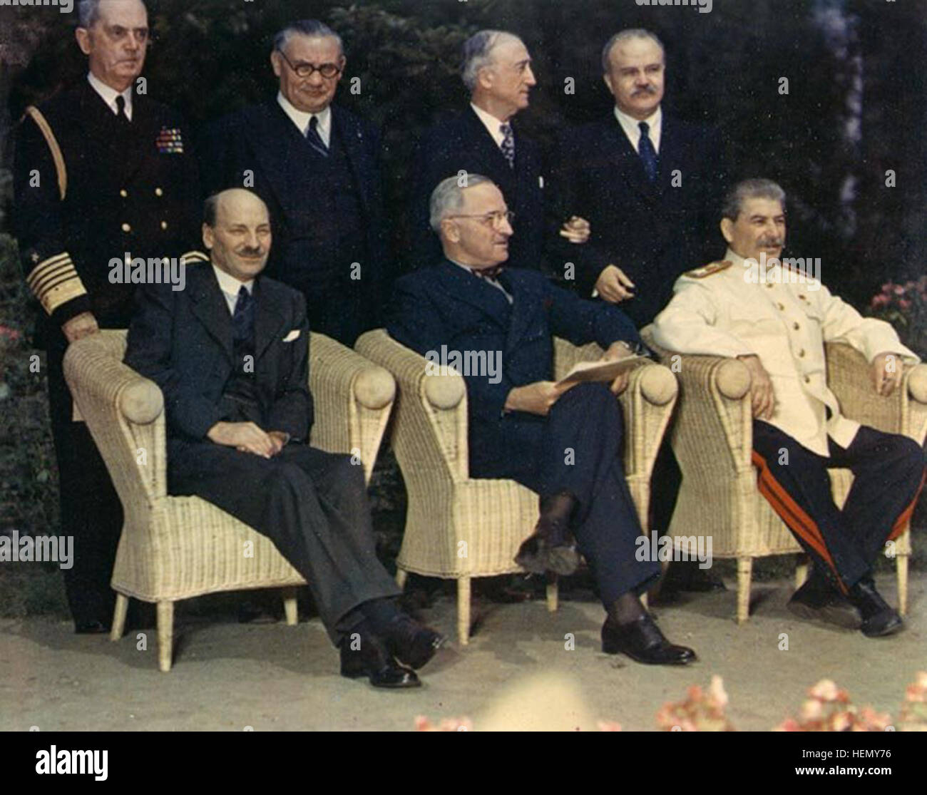 Clement Attlee, Harry S. Truman, Joseph Stalin and their principal advisors - Potsdam Conference 1945 - Stock Image