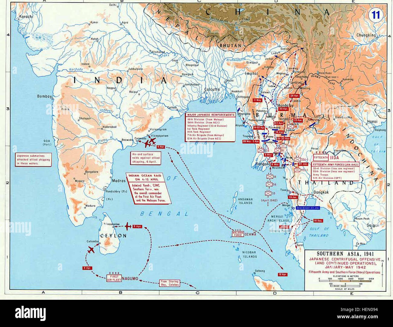Pacific War - Southern Asia 1942 - Map Stock Photo ...