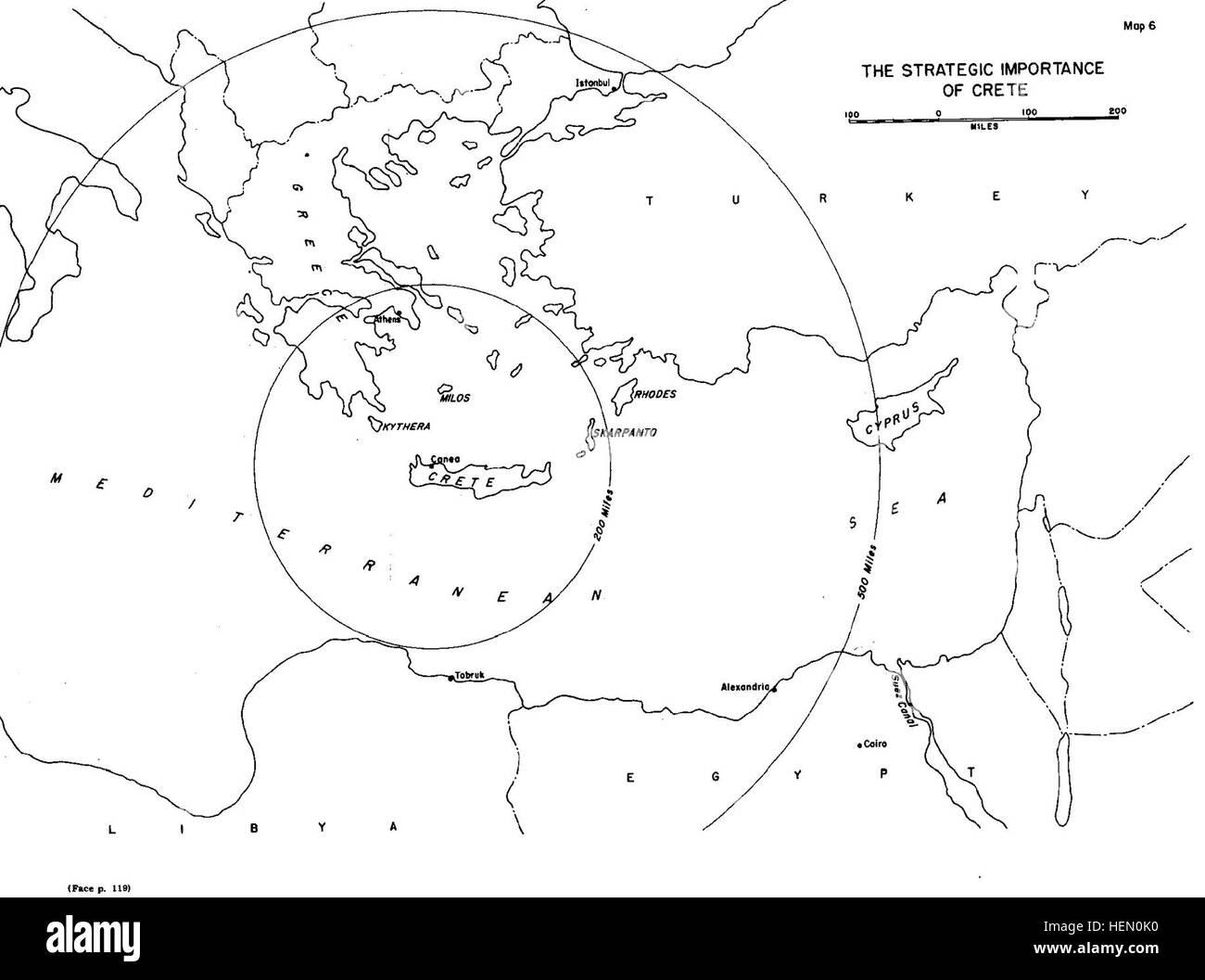 Strategic Importance Of Crete In World War Ii Map Stock Photo