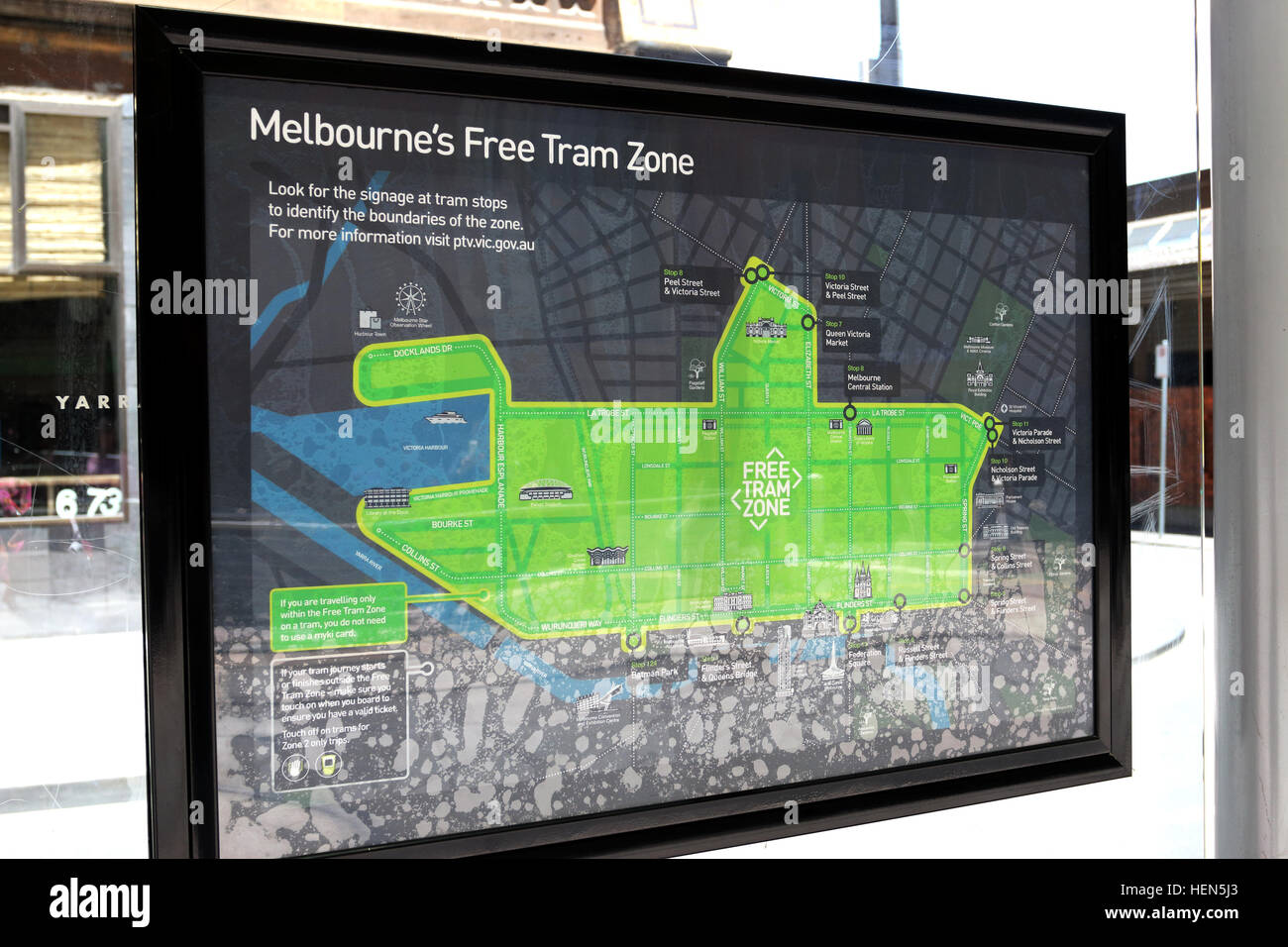 Melbournes free tram zone information at Southern Cross station