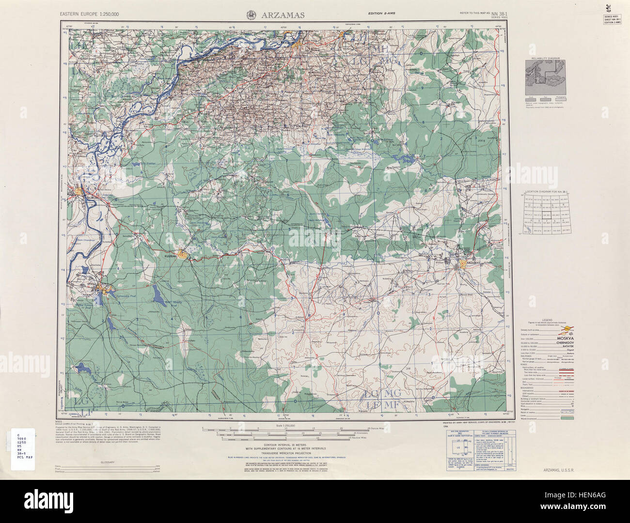 USSR map NN 38-1 Arzamas - Stock Image