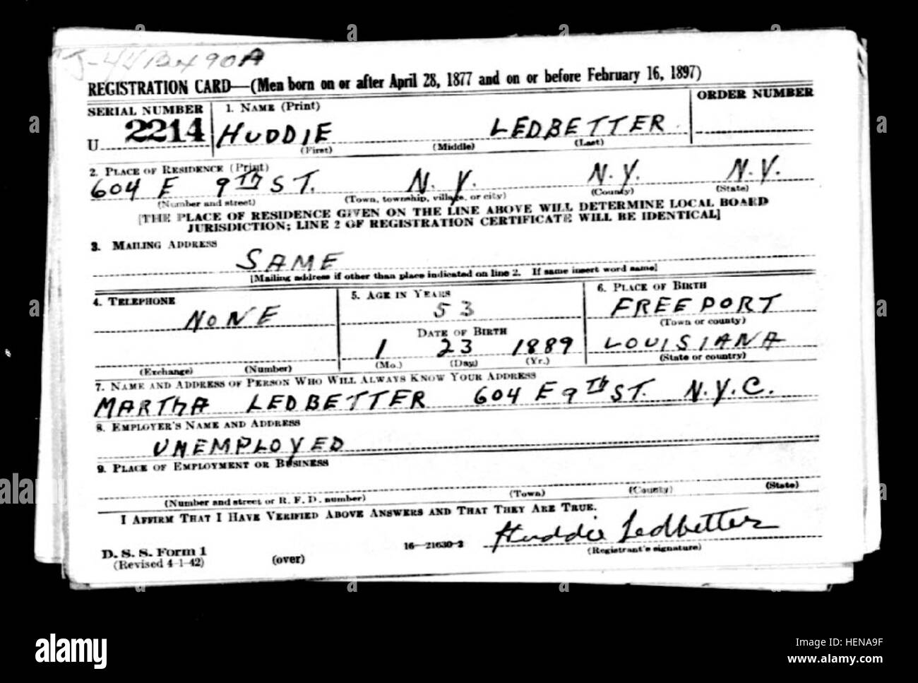 Lead Belly Draft Registration Card Ca 1942 Stock Photo Alamy