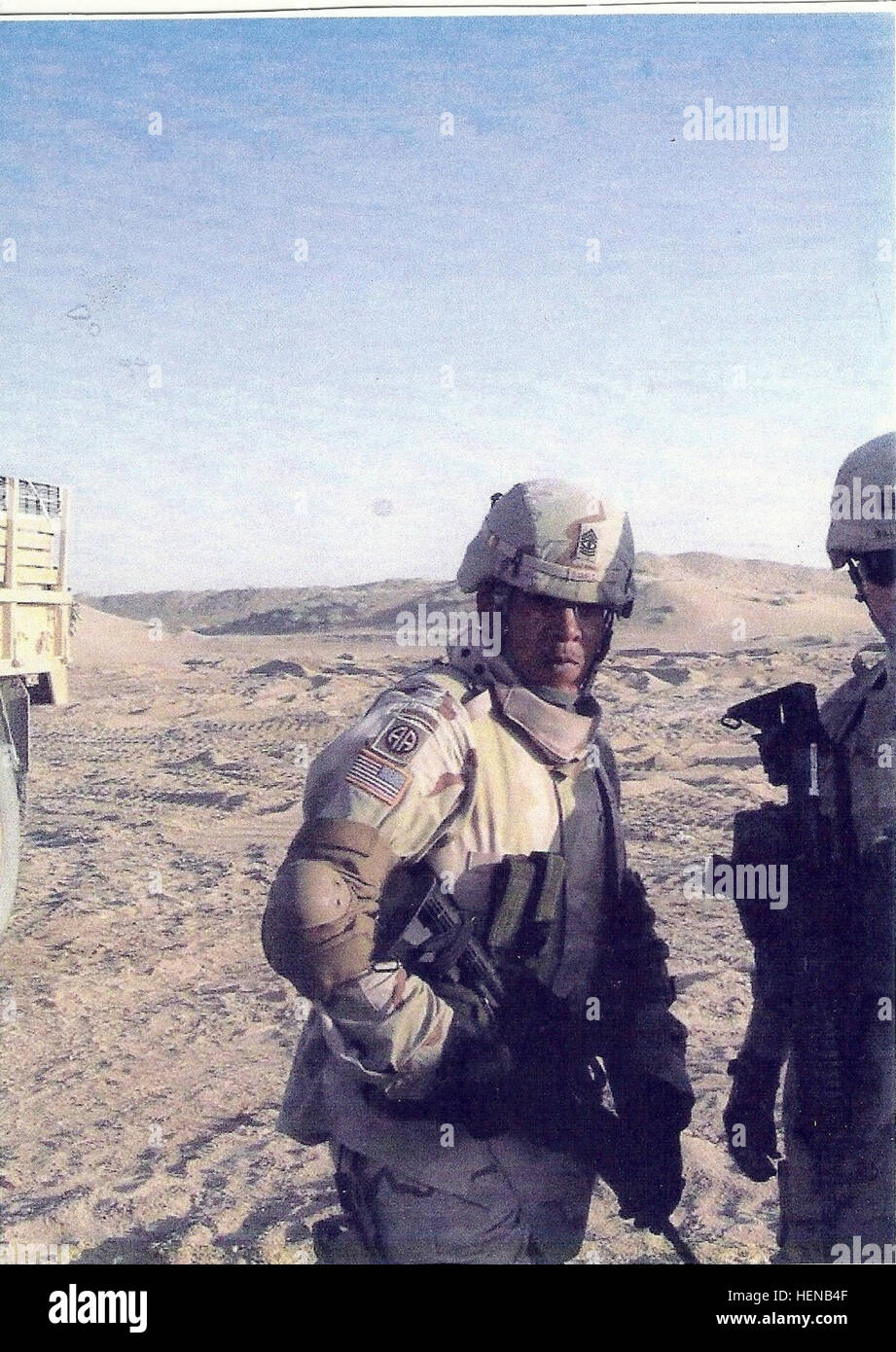 George Daniels, shown while deployed with the 82nd Airborne Division. Daniels was a part of Operation Desert Storm. - Stock Image