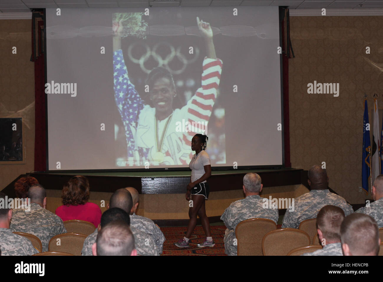 Sgt. Breanda Crump, from Mount Vernon, N.Y., and an intelligence analyst with Headquarters and Headquarters Company, - Stock Image