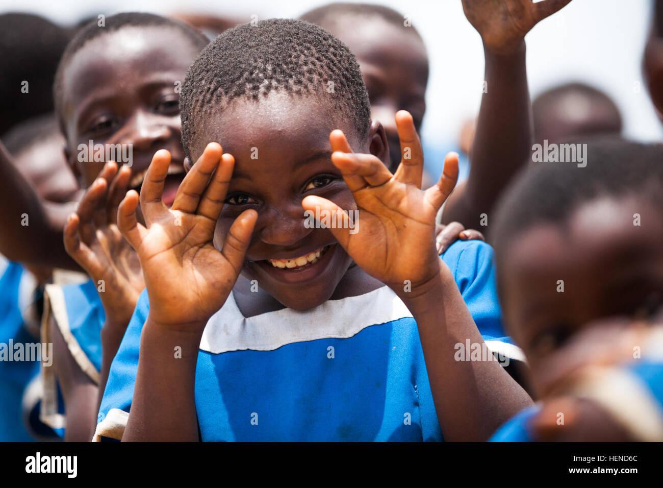 Cameroonian school children await to be given needed school