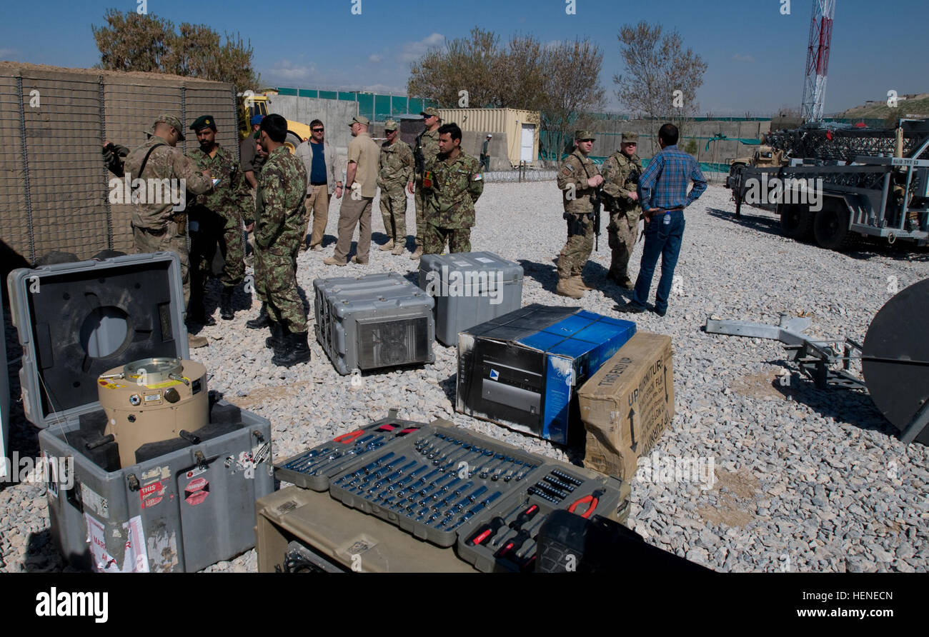 Components of a base expeditionary targeting surveillance systems-combined (BETSS-C) tower is laid out for inventory Stock Photo