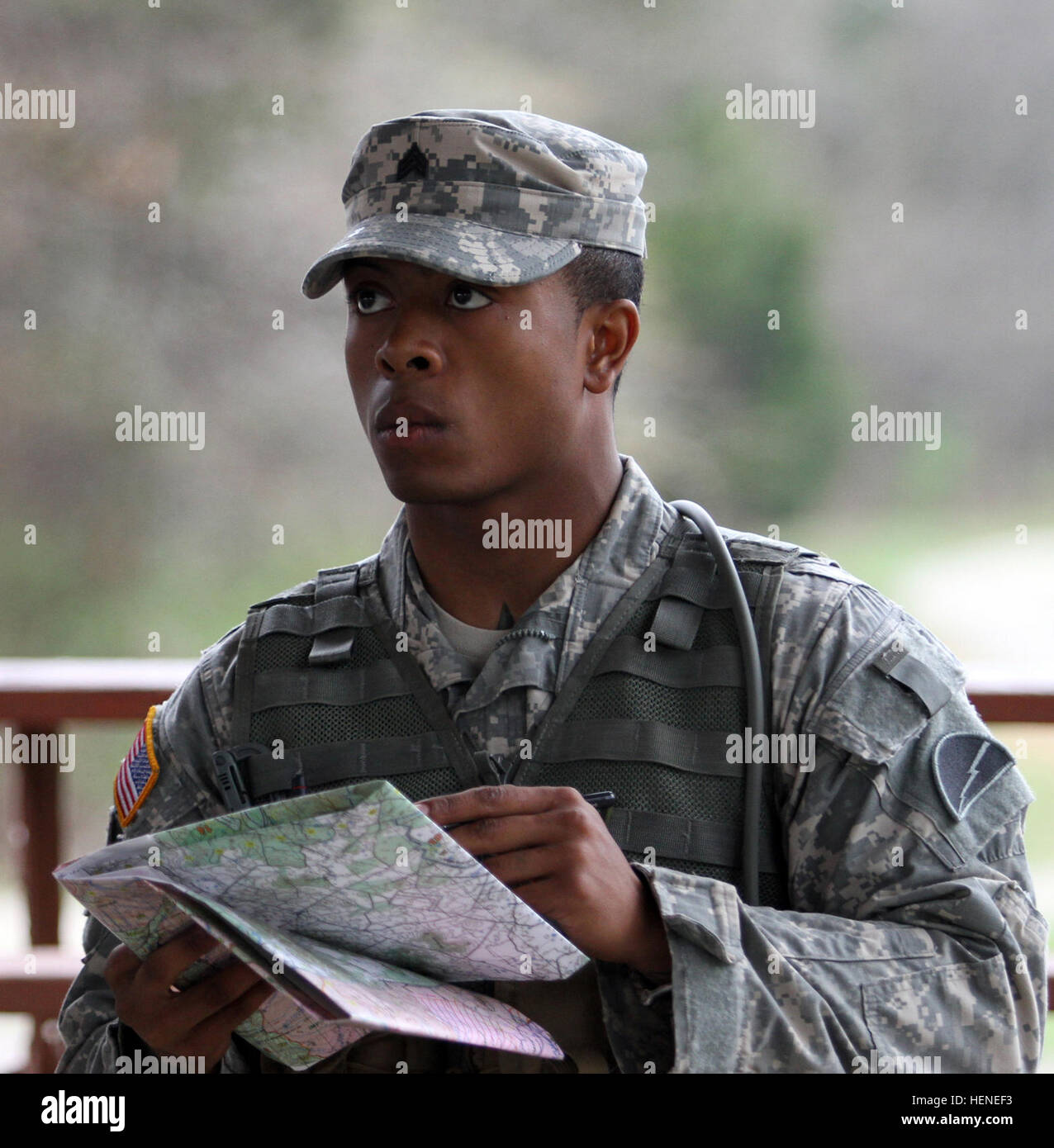 Sgt Darius Foster Of Rahway NJ 78th Training Division Joint Base McGuire Dix Lakehurst Listens To Last Minute Details Before The 84th